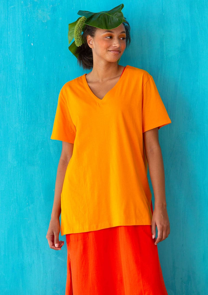 Jersey top in organic cotton tangerine