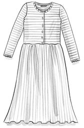 Striped knit dress in organic linen