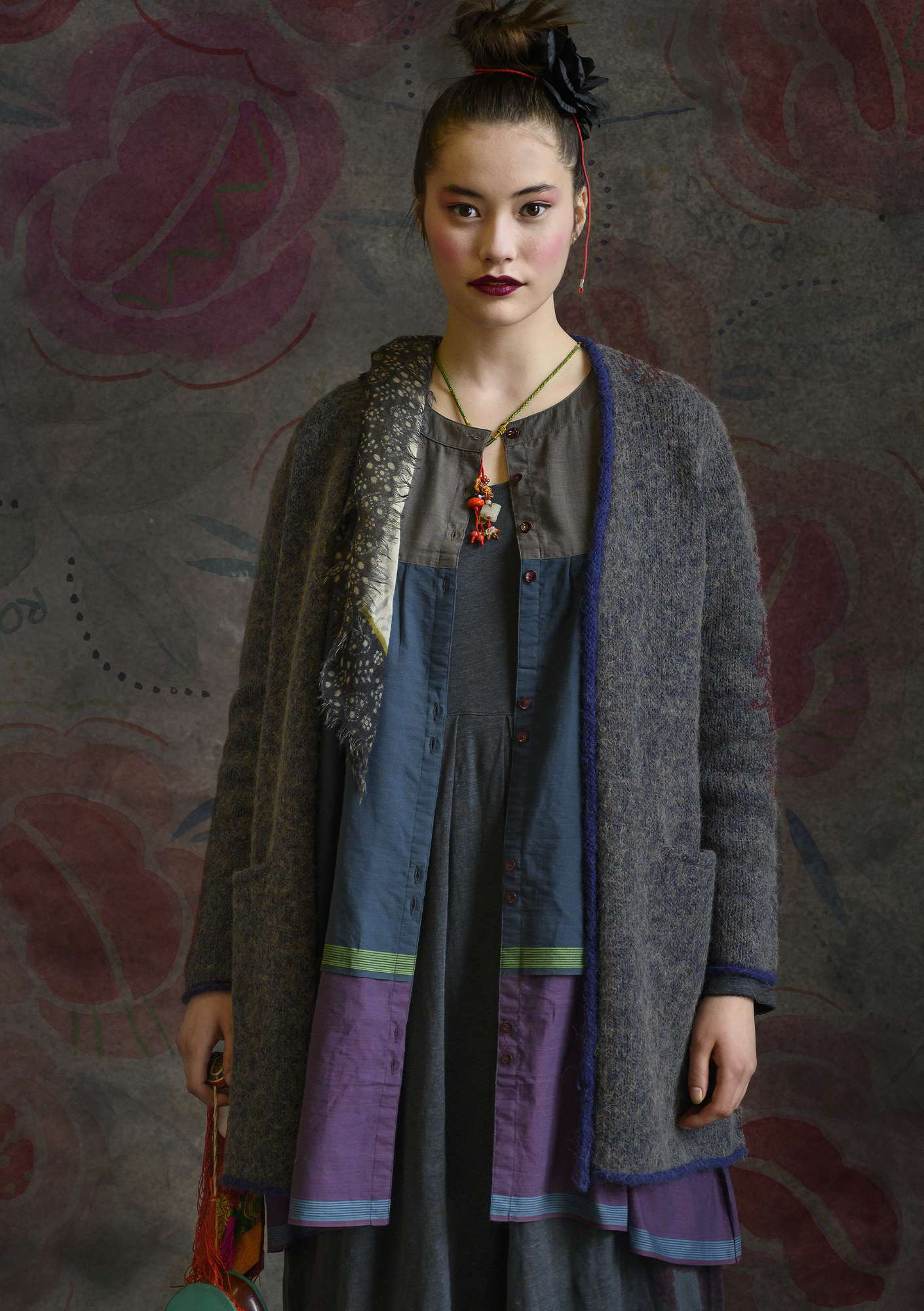 Solid-colour cardigan blue melange