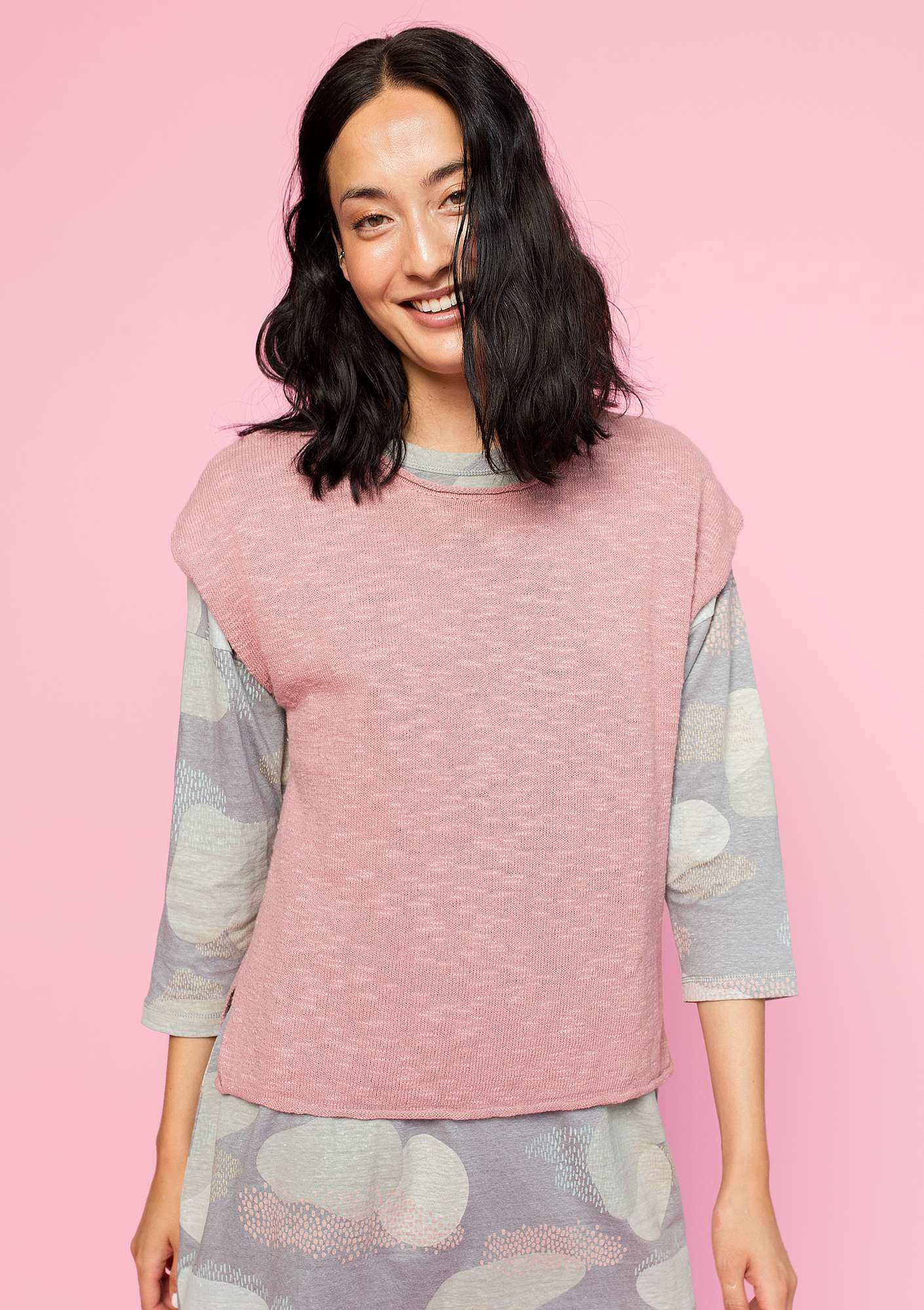 Sweater in eco-cotton/linen powder pink