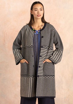 Criss-cross knitted coat ink blue