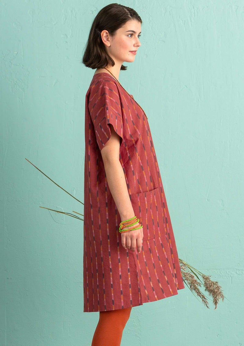 """Ikat"" woven dress in cotton madder red"