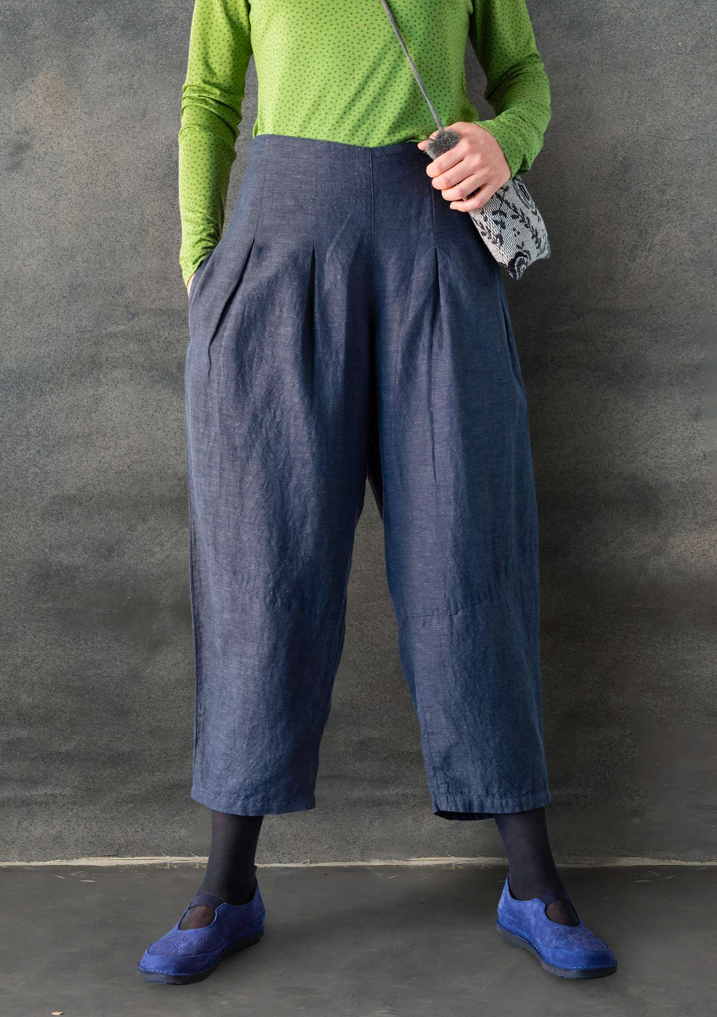 Trousers in cotton/linen chambrey light carbon black