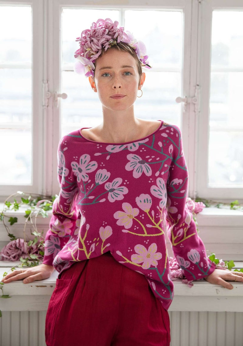 """Magnolia"" organic cotton sweater cerise"