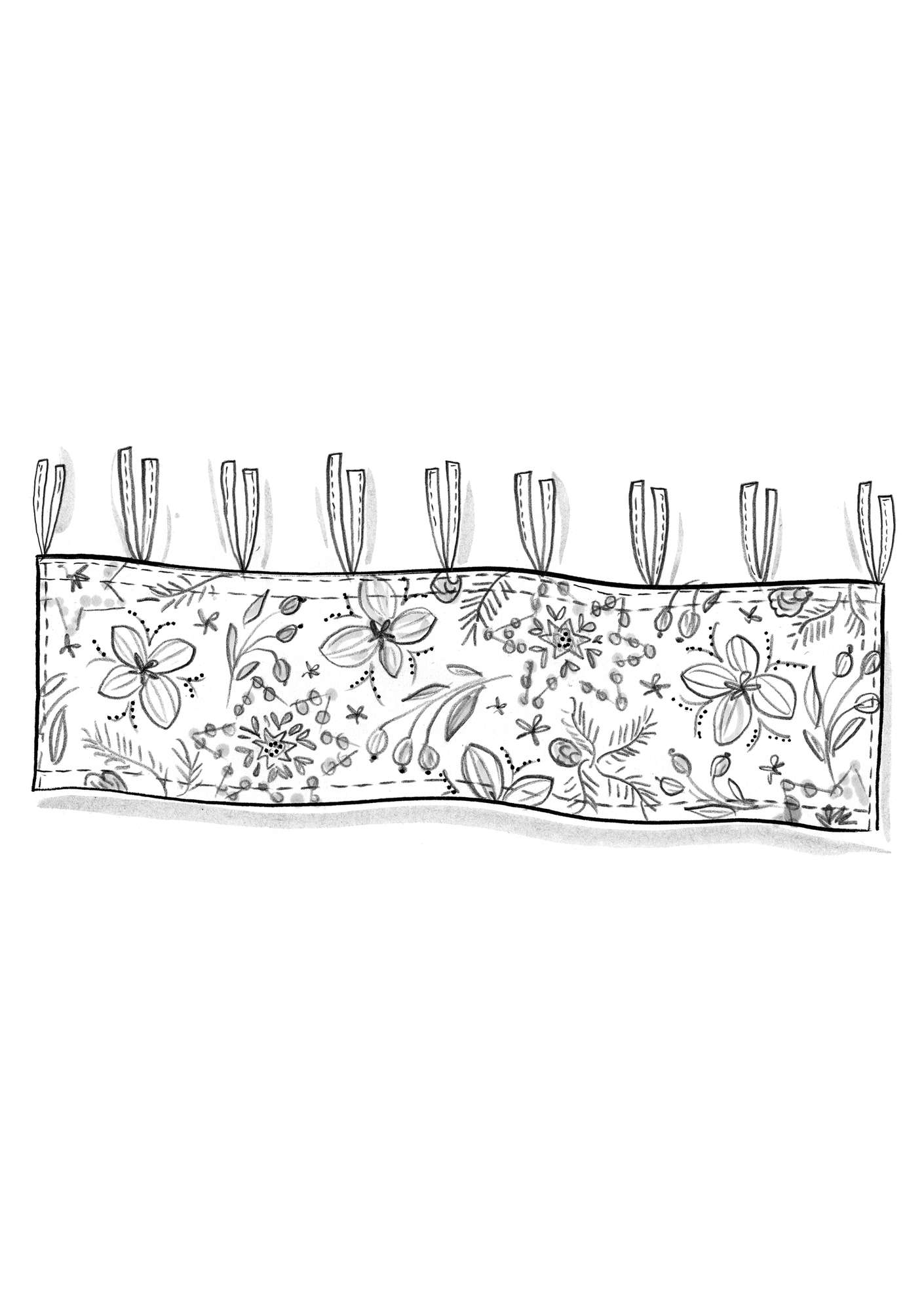 """Nejlika"" organic cotton curtain valance grey"