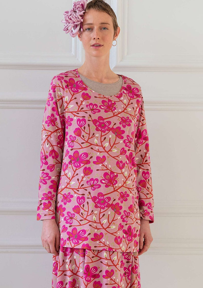 """Magnolia"" organic cotton/modal top cerise"