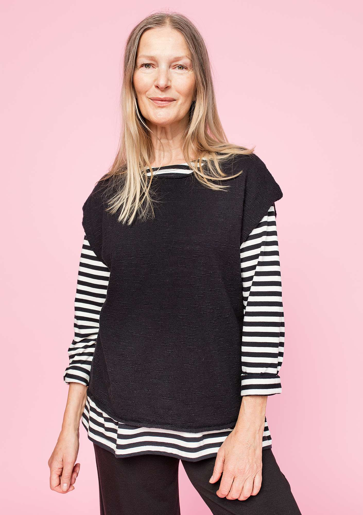 Sweater in eco-cotton/linen black