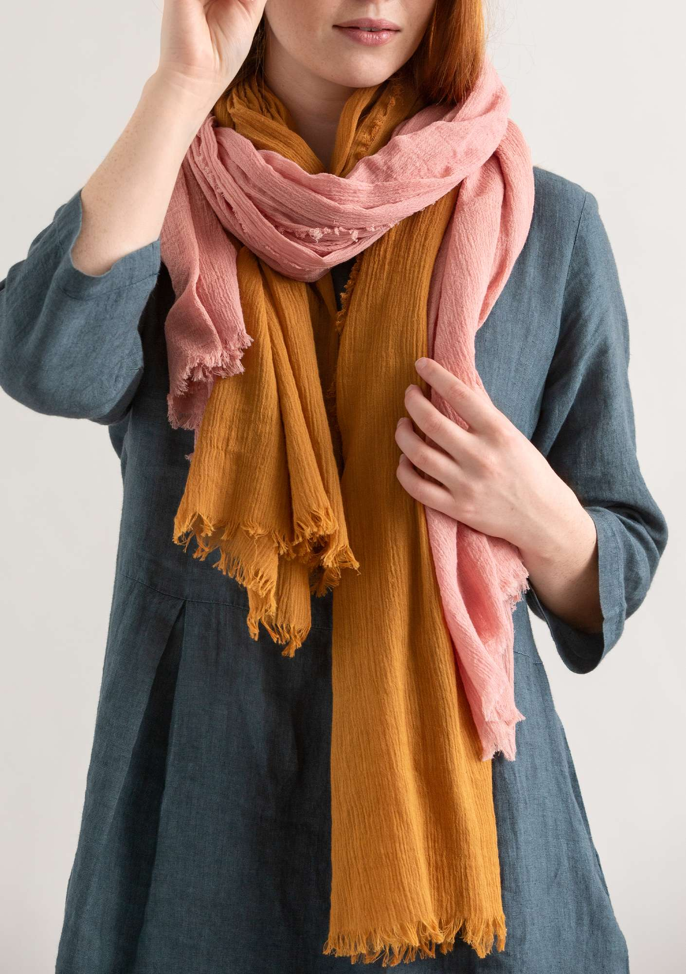 Organic cotton slub shawl mustard
