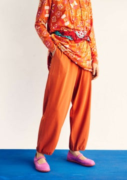 Effen tricot broek burnt orange