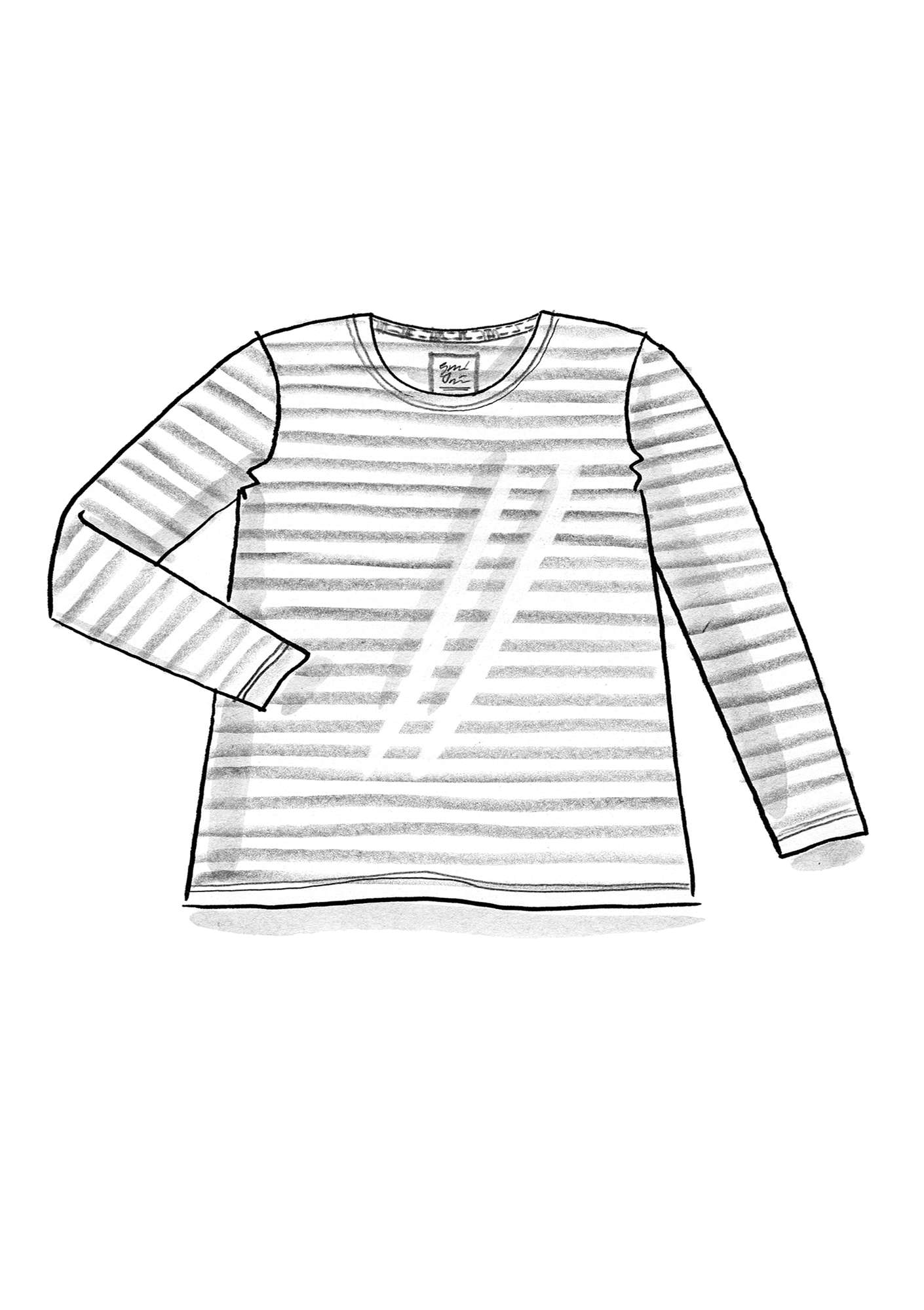 Essential striped sweater in organic cotton bright red/unbleached