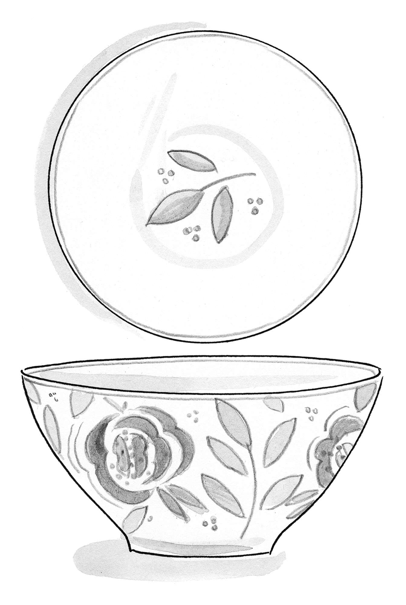 """Roses"" Flower Pattern Ceramic Bowl"