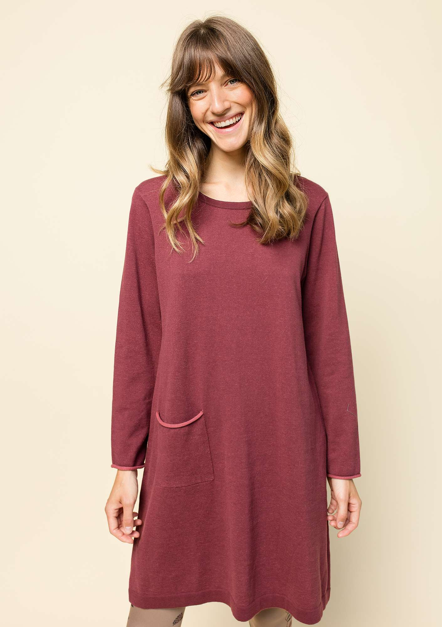 Plated tunic in eco-cotton beetroot