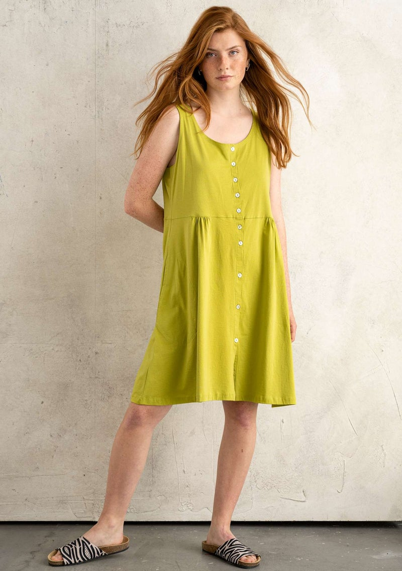 """Marimba"" jersey dress in organic cotton leaf green"