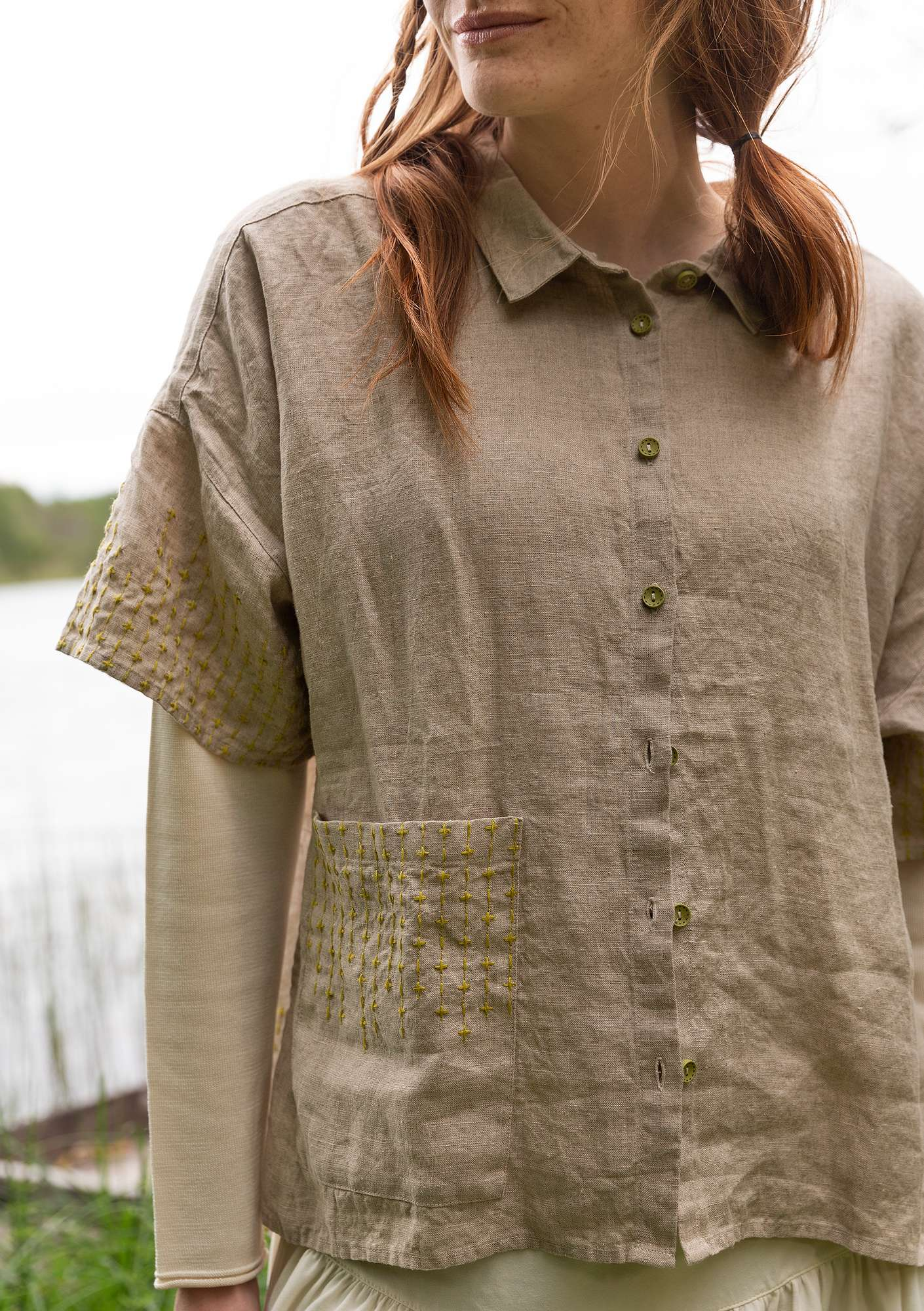 """Quartz"" linen shirt dark nature"