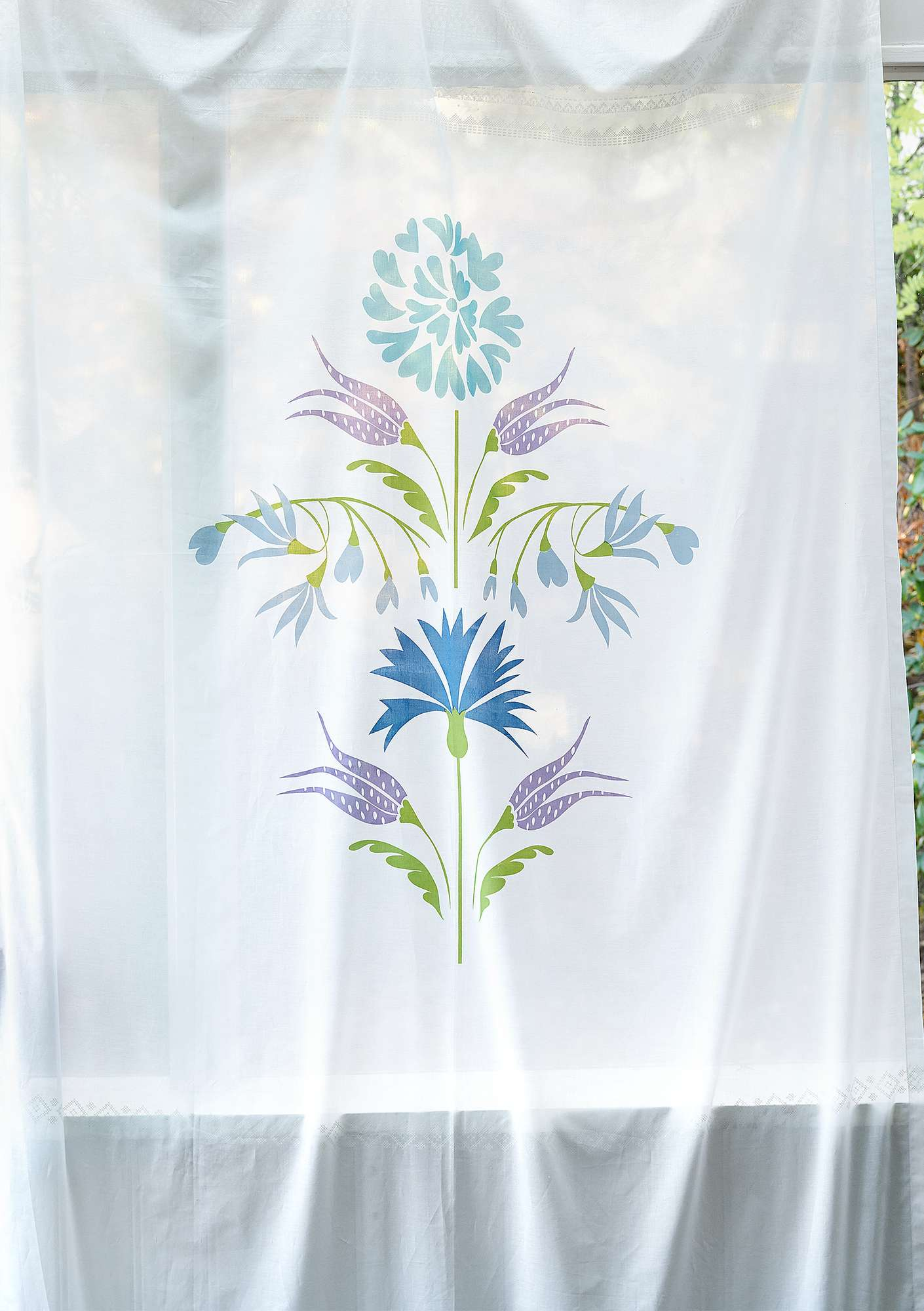 """Laguna"" eco-cotton curtain medium blue"