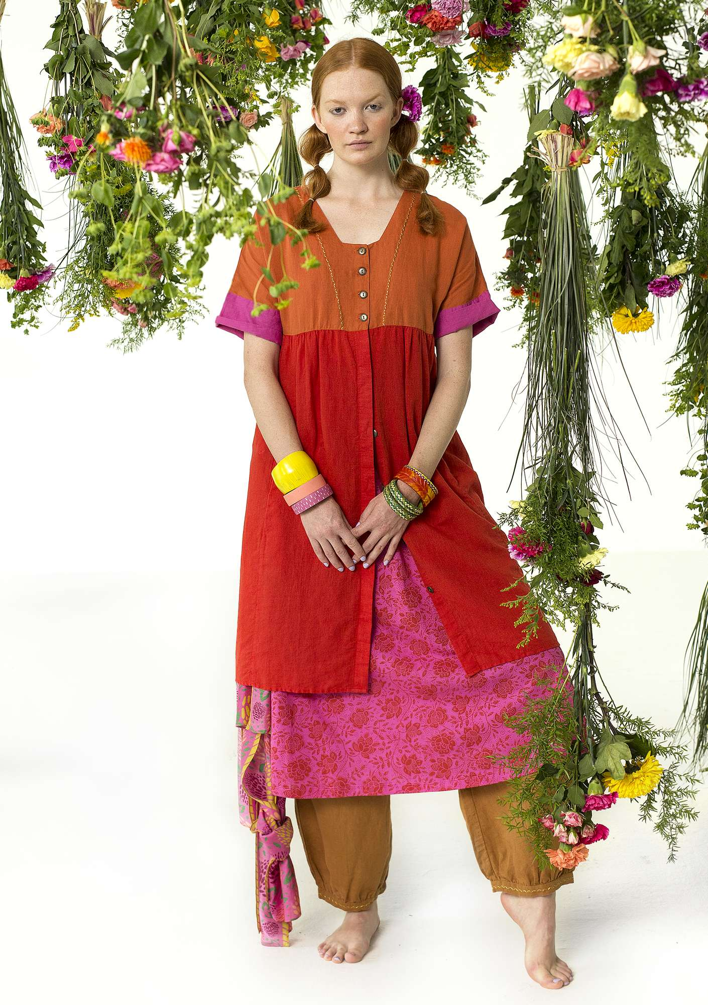 Linen/cotton dress bright red