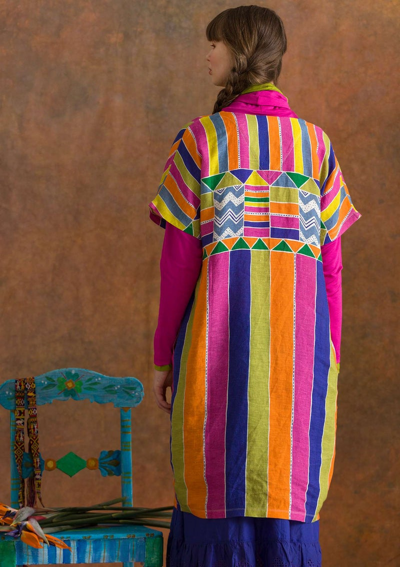 """Antigua"" woven linen dress multicoloured"