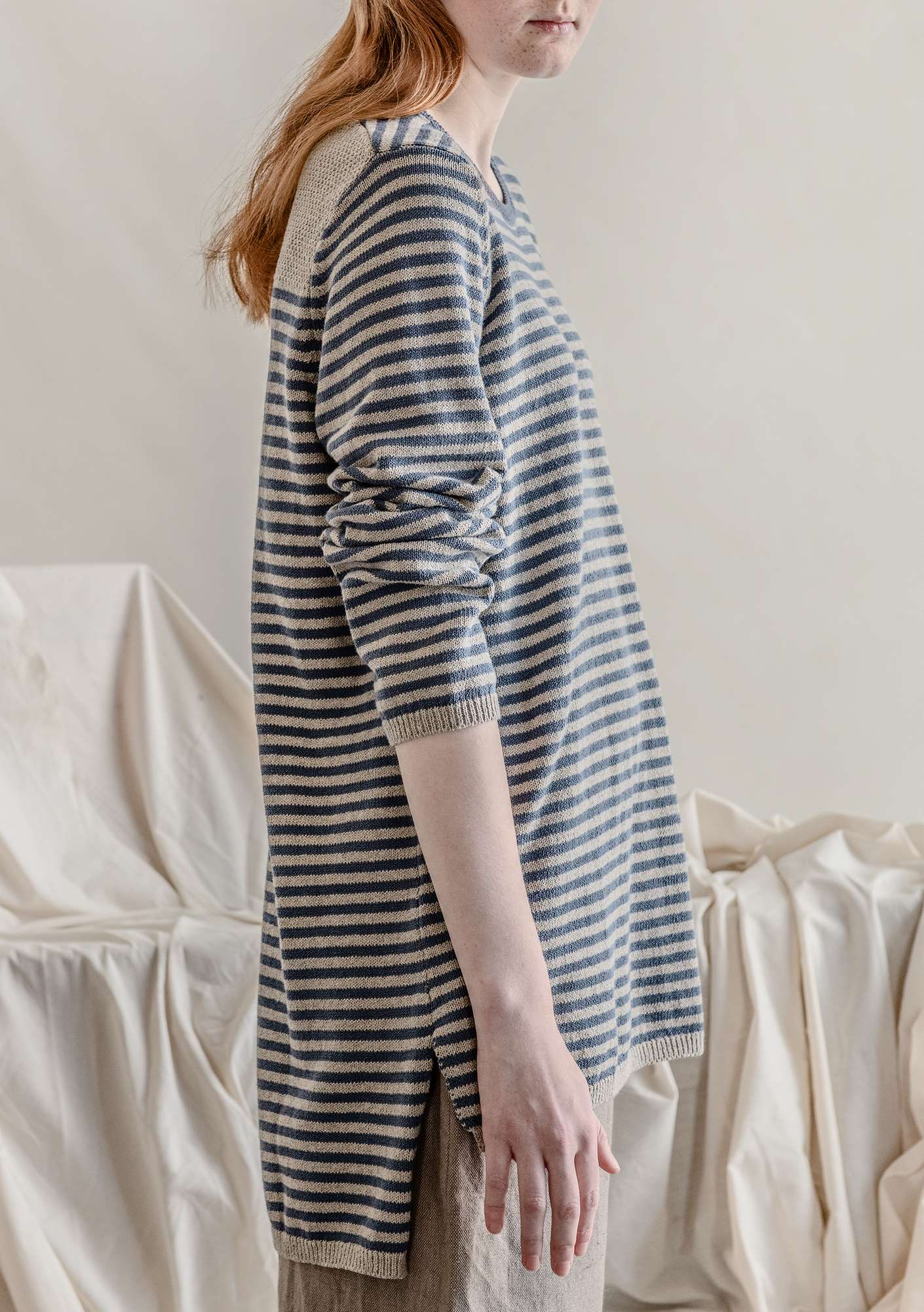 Striped-knit organic cotton sweater mist blue