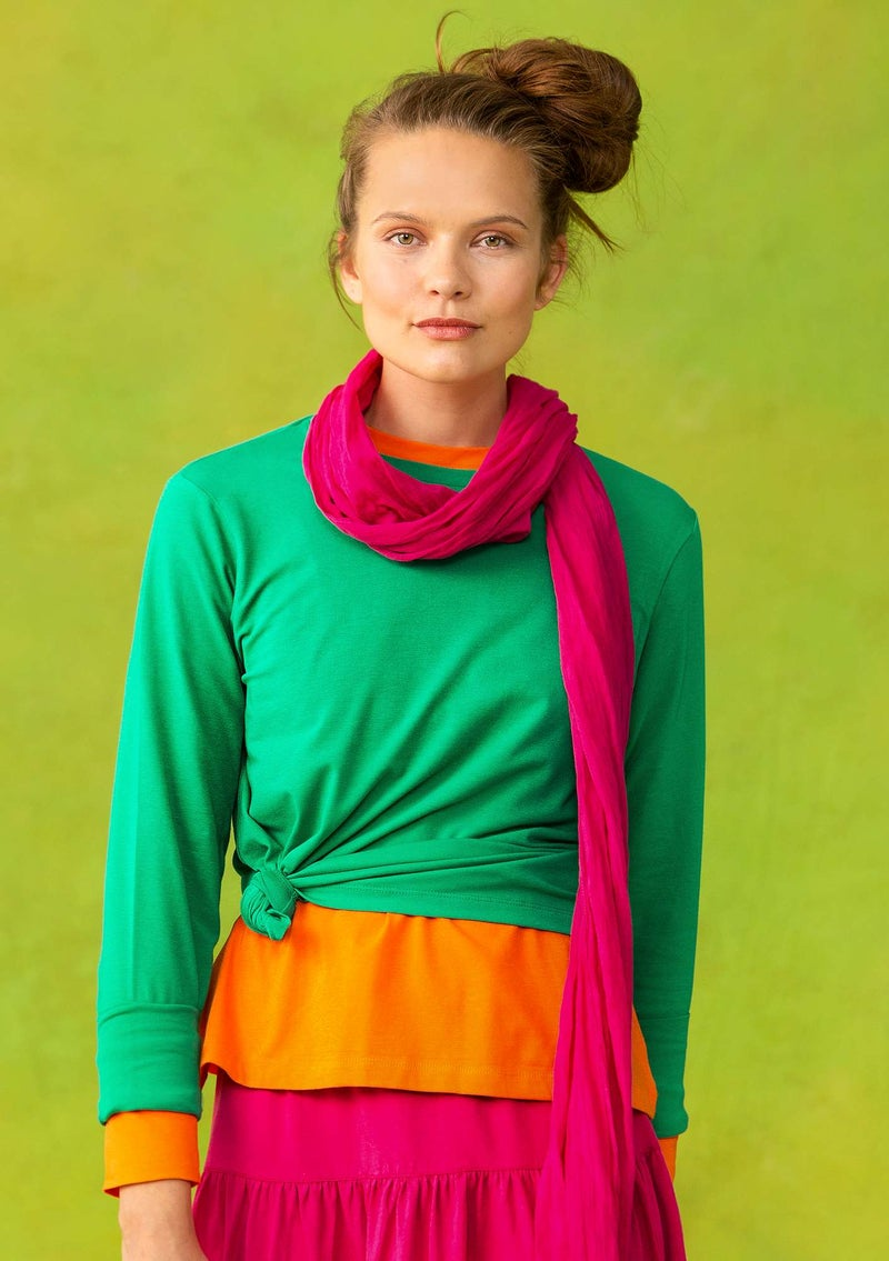 Long-sleeve top in organic cotton/spandex lotus green