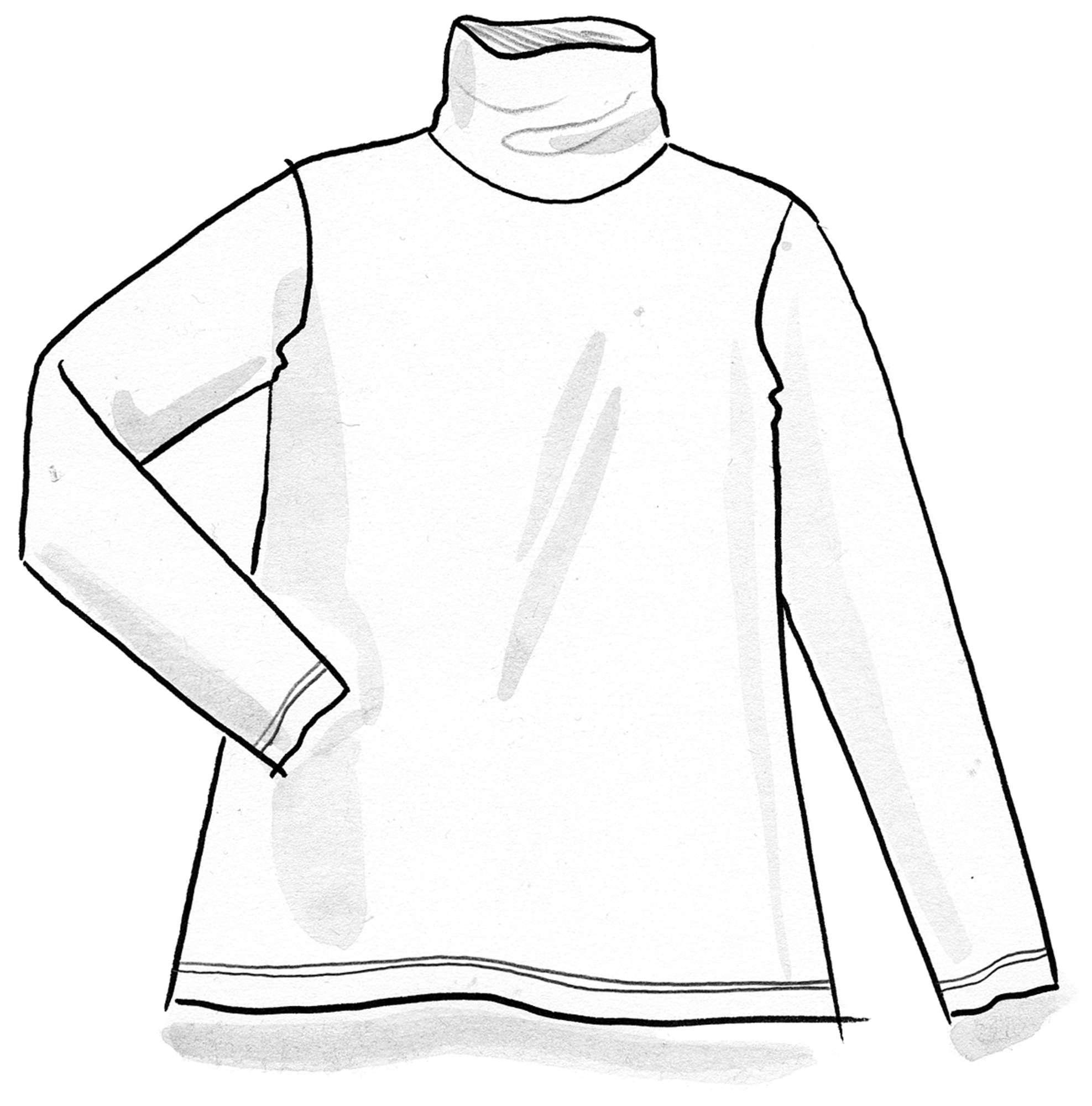 Solid-color turtleneck in lyocell/spandex