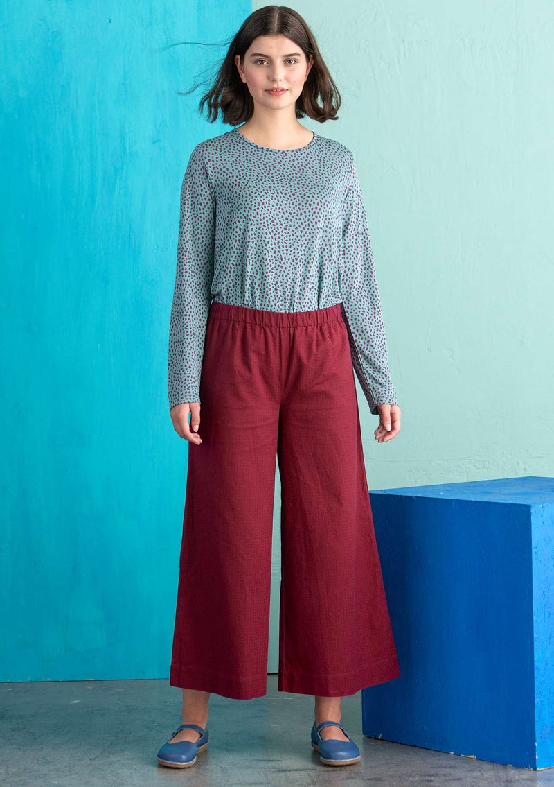 Pants in organic cotton/linen/spandex burgundy