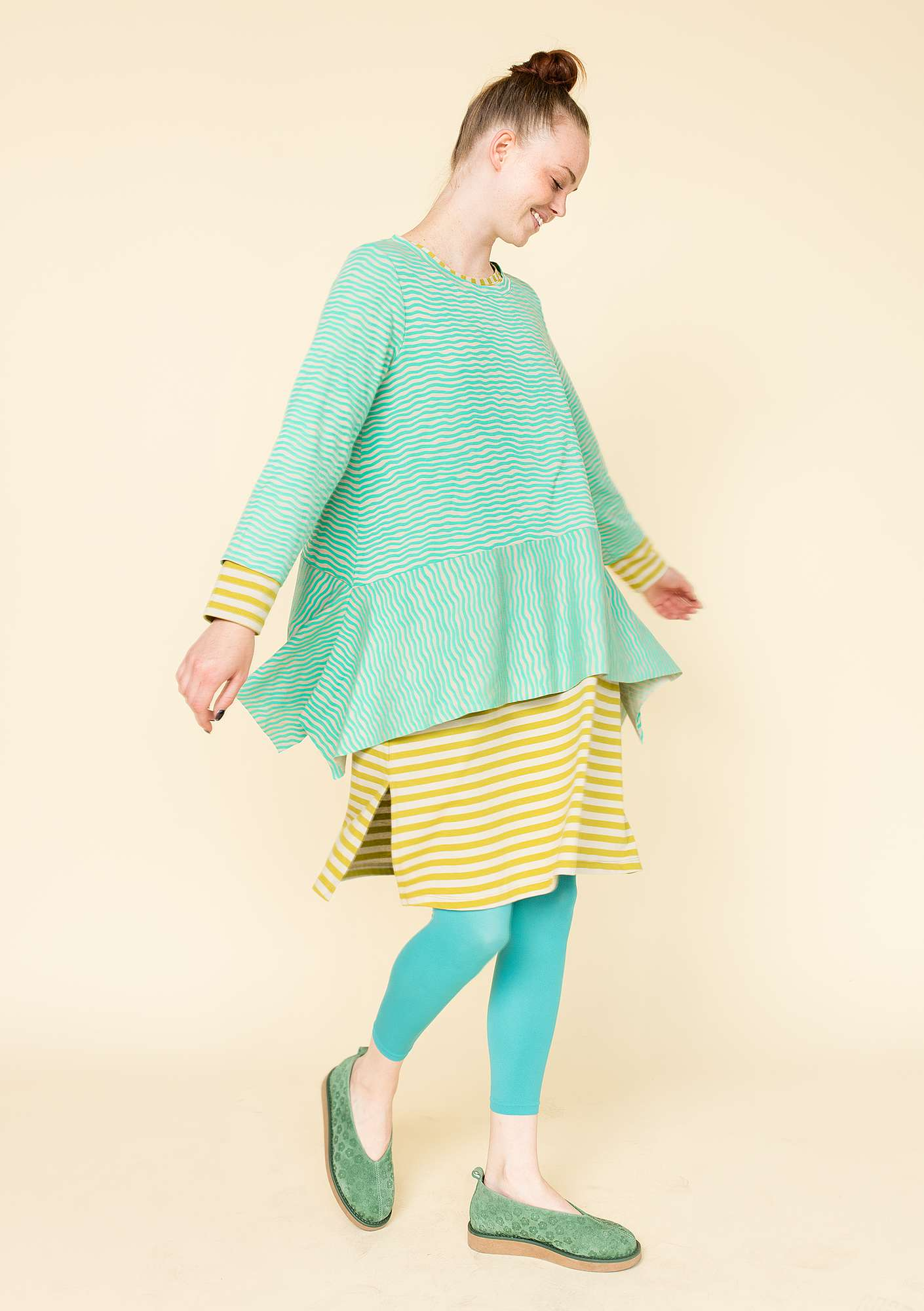 """Krusa"" tunic in lyocell/spandex pale orient green"