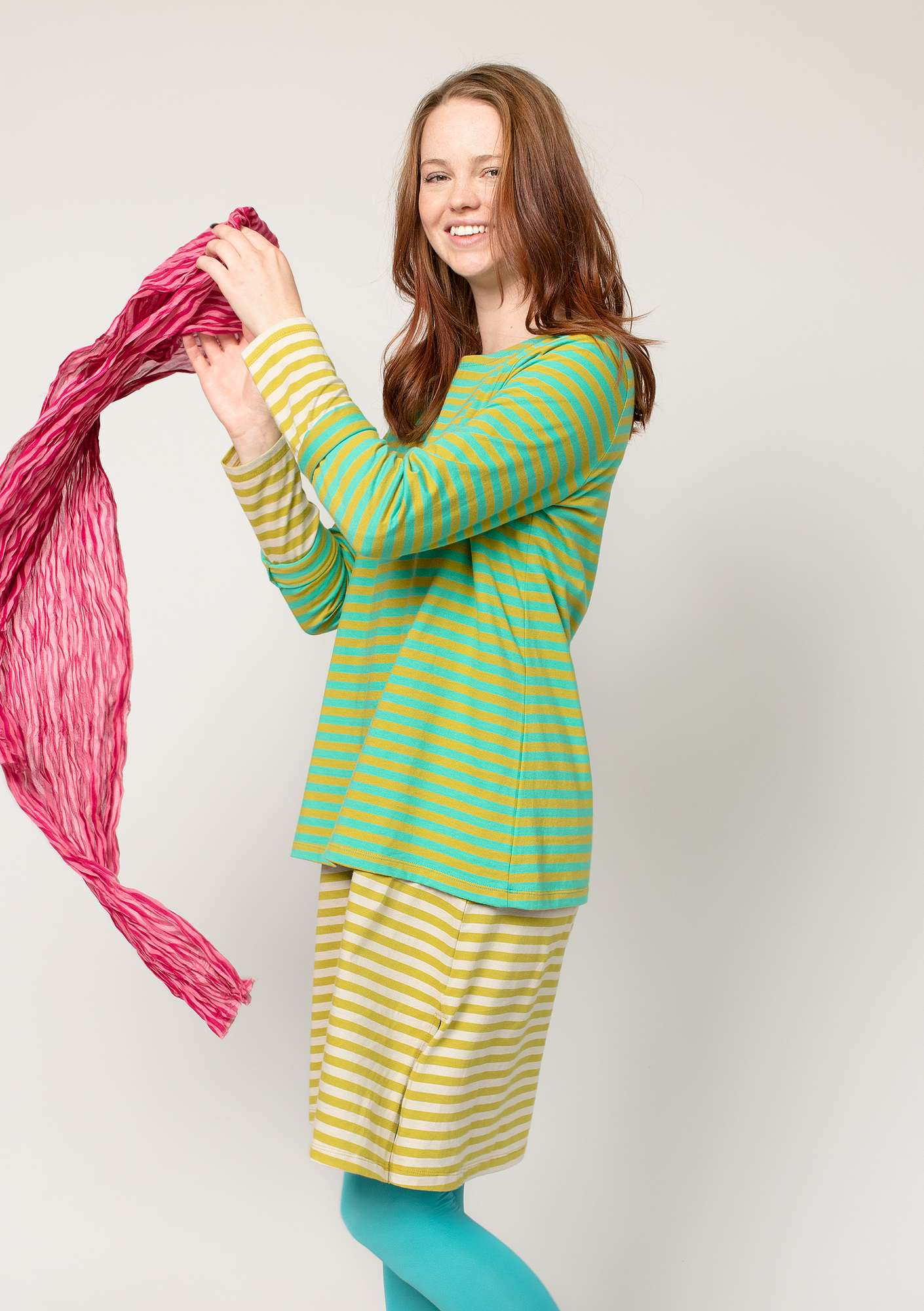 Striped top in organic cotton pale orient green/guava