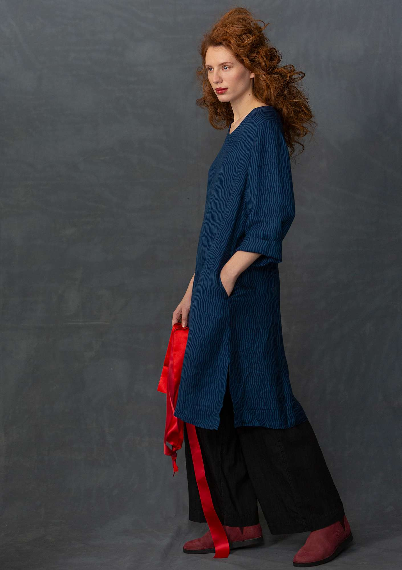 Linen/rayon dress midnight blue