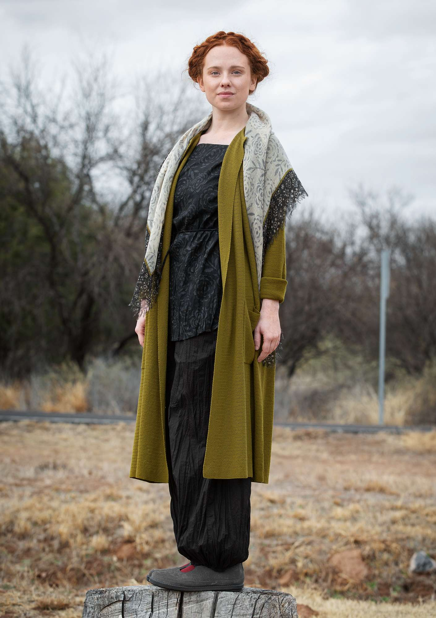 Long cardigan in organic cotton dark olive