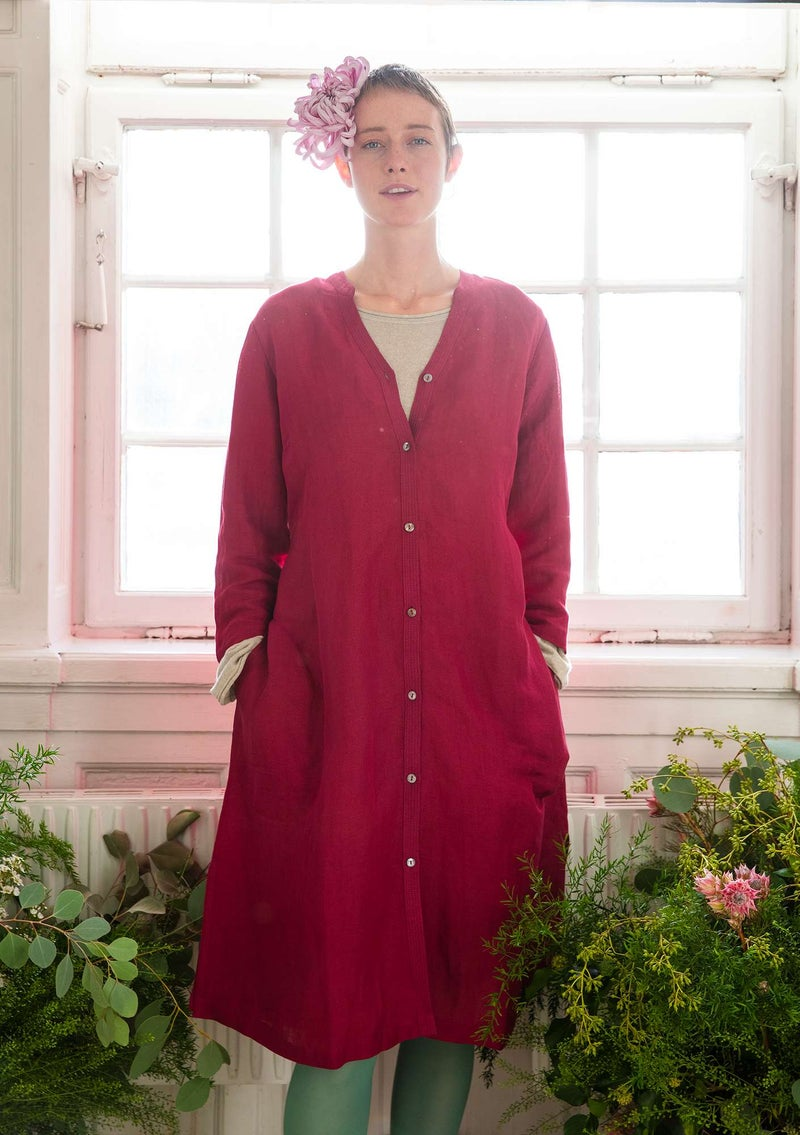 Linen/lyocell shirt dress dark hibiscus