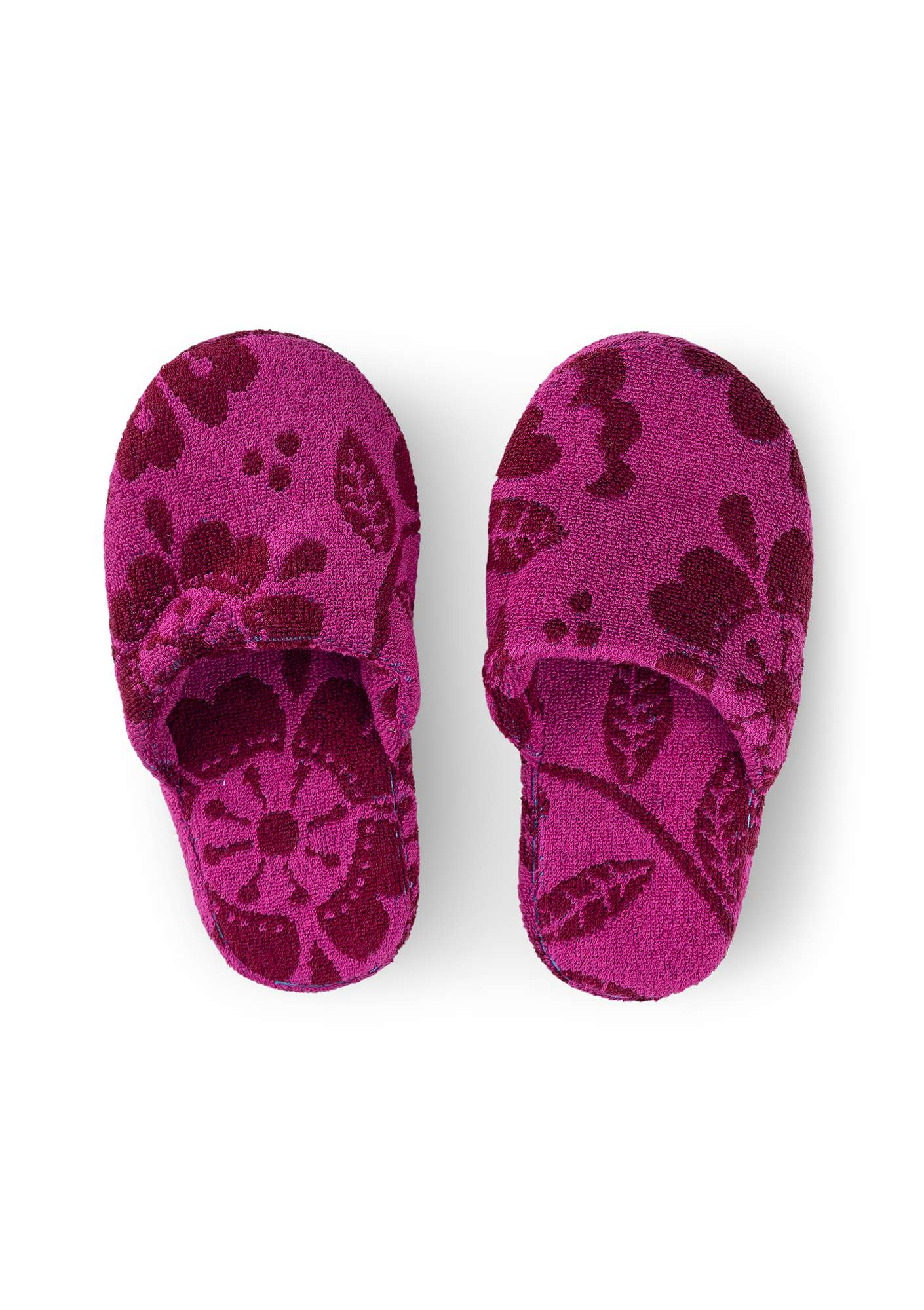 """Okinawa"" terry slippers in organic cotton pomegranate"