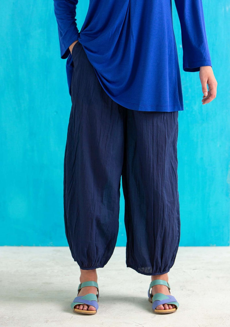 """Billie"" pants in organic/recycled cotton midnight blue"