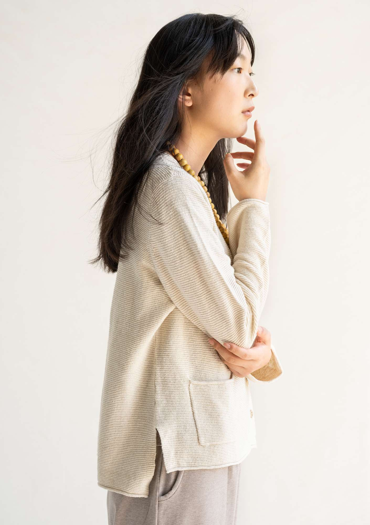 Linen/organic cotton cardigan nature/undyed