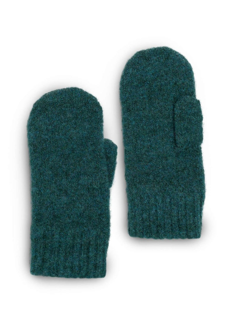 Knit mittens in a recycled cashmere blend bottle green