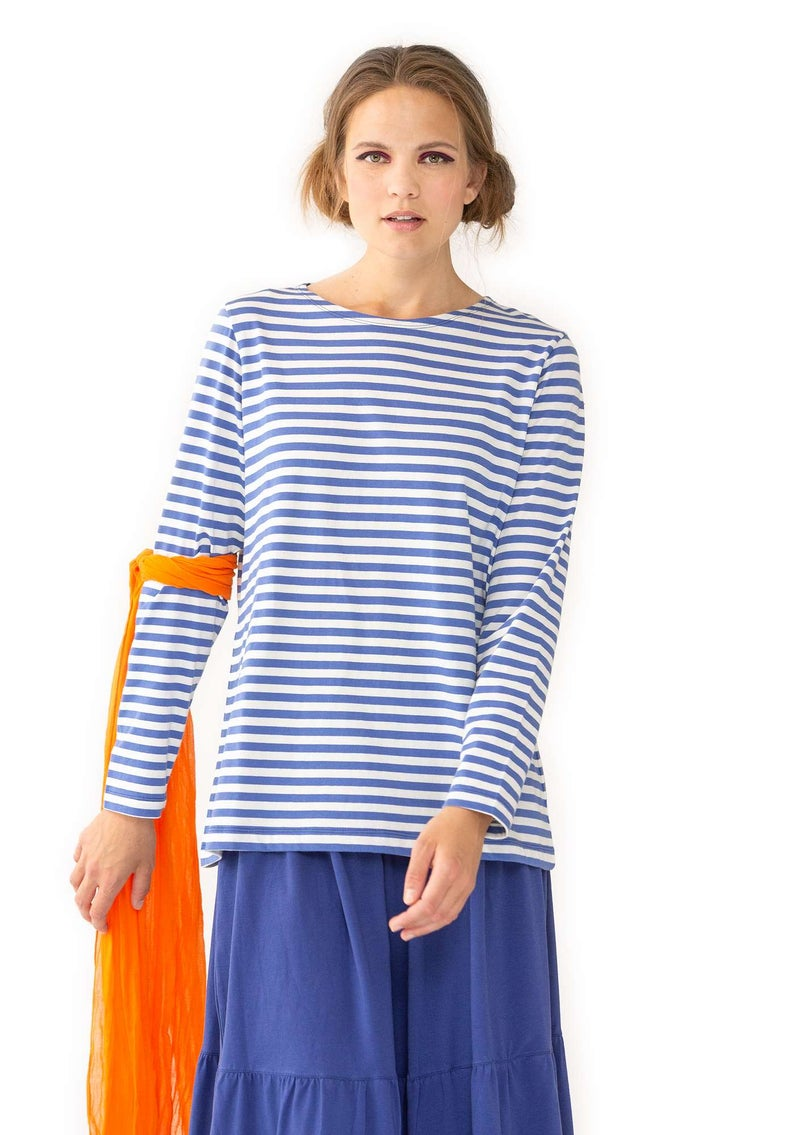 Essential striped sweater in organic cotton sky blue/unbleached