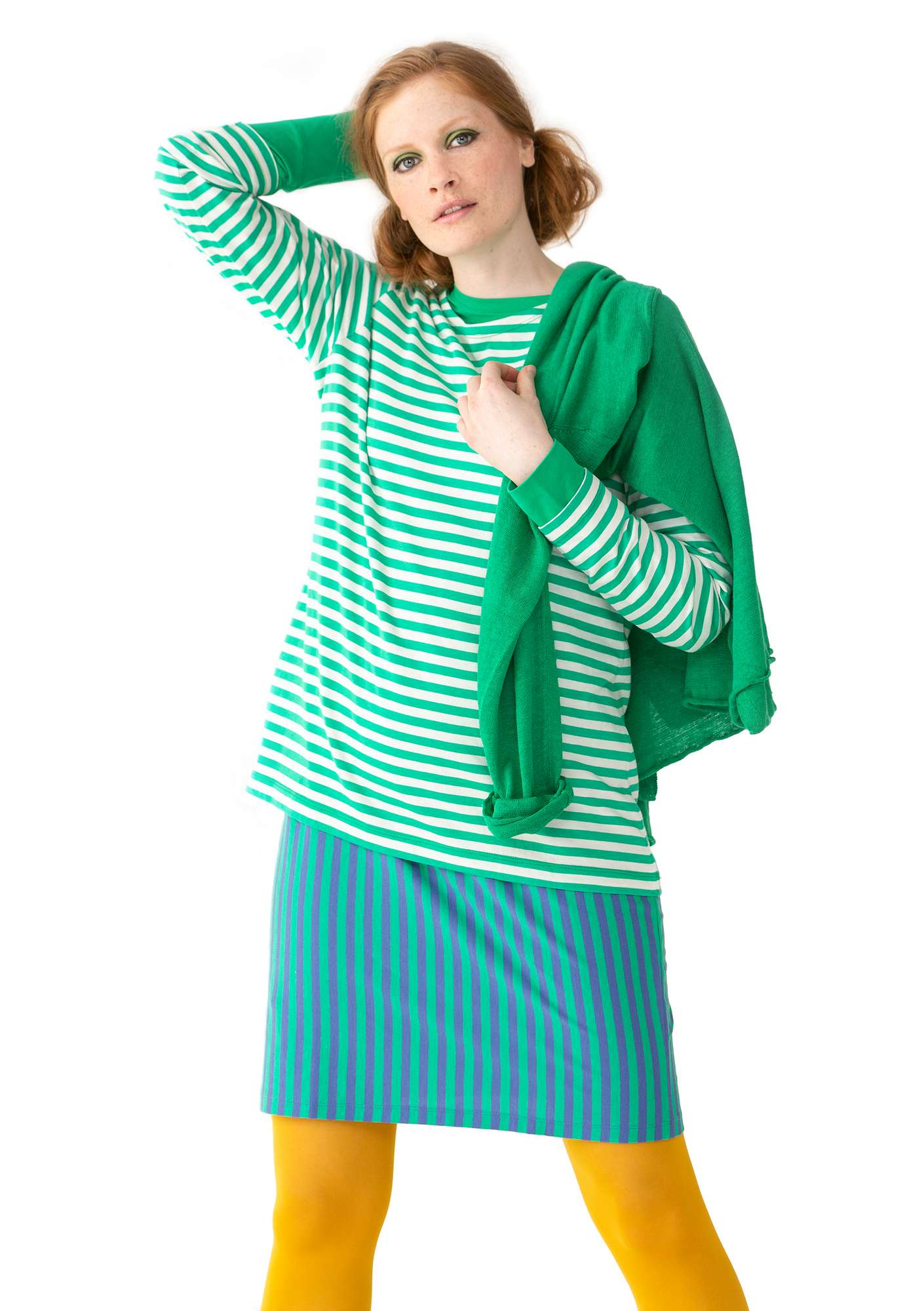 Essential striped sweater in organic cotton lotus green/unbleached