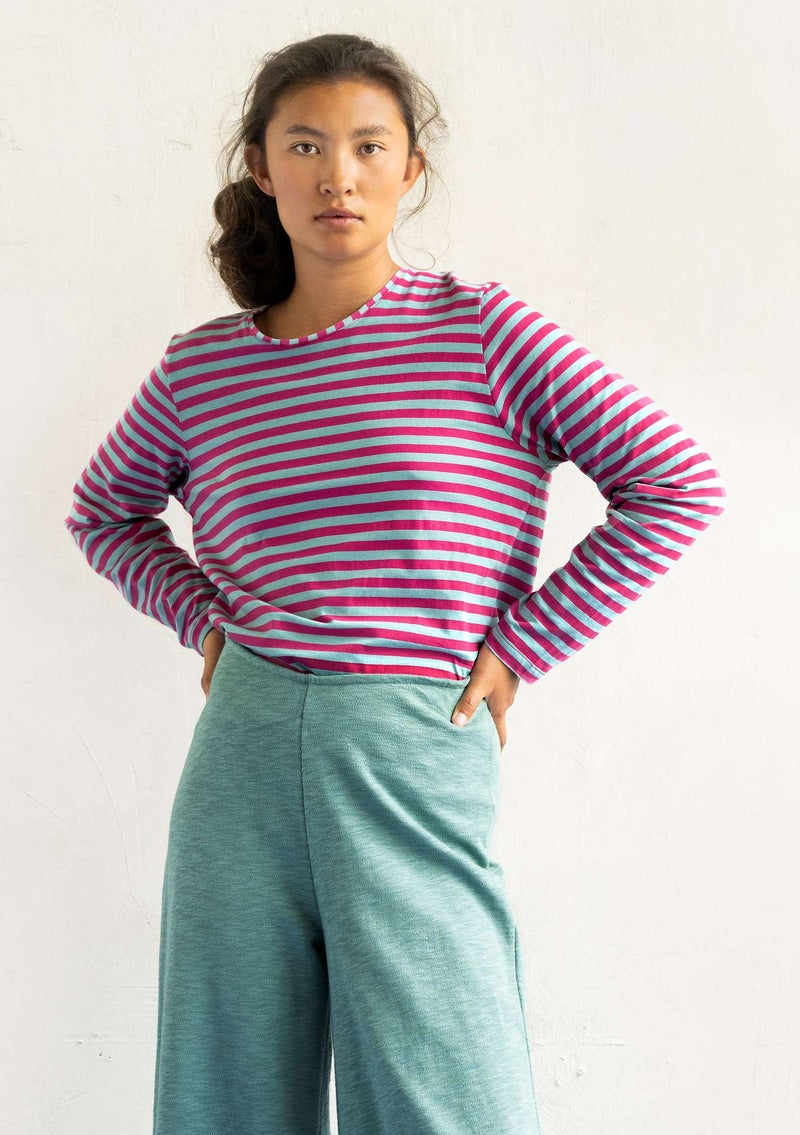 Essential striped sweater in organic cotton hibiscus/jade