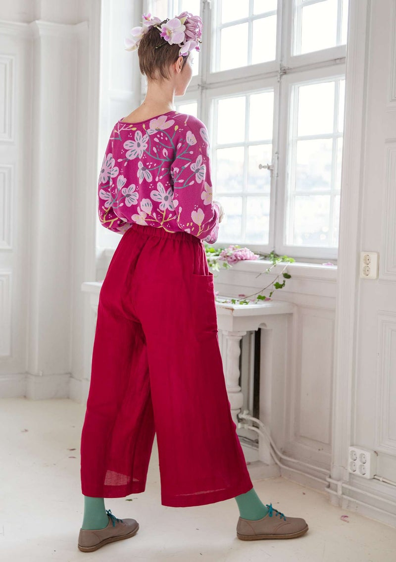 Woven linen/lyocell trousers dark hibiscus