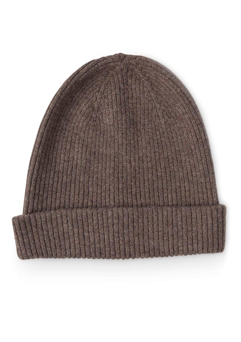 Knit hat in recycled cashmere blend. potato/melange