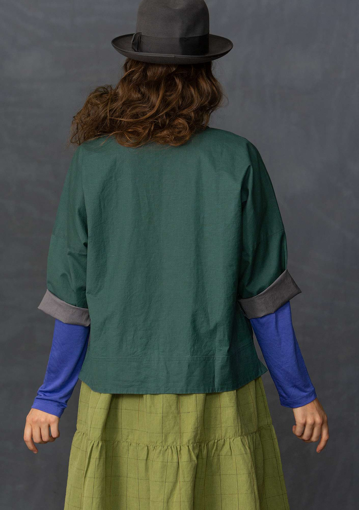 Linen/cotton blouse-style jacket opal green