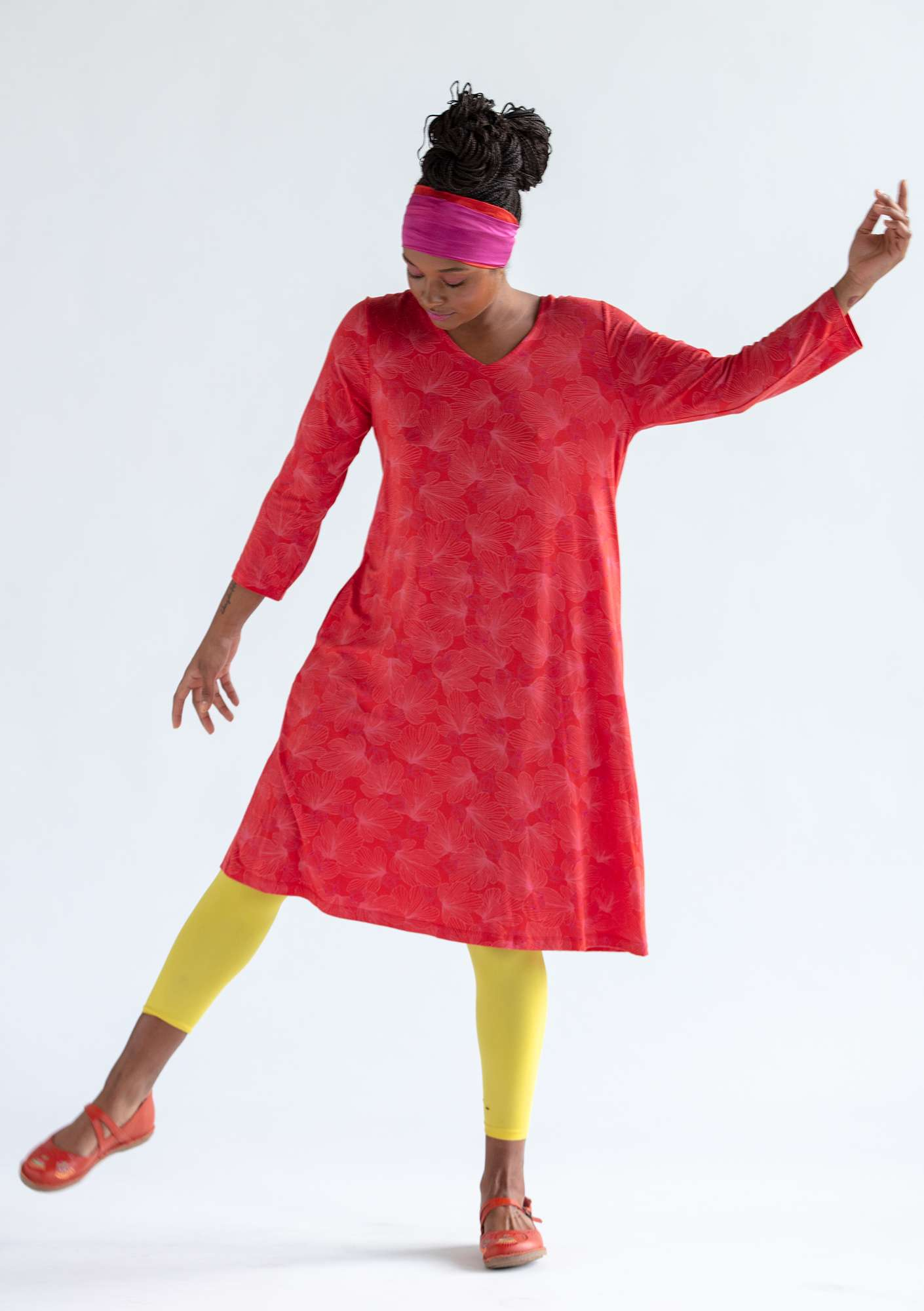 """Fig"" dress in lyocell/elastane bright red"