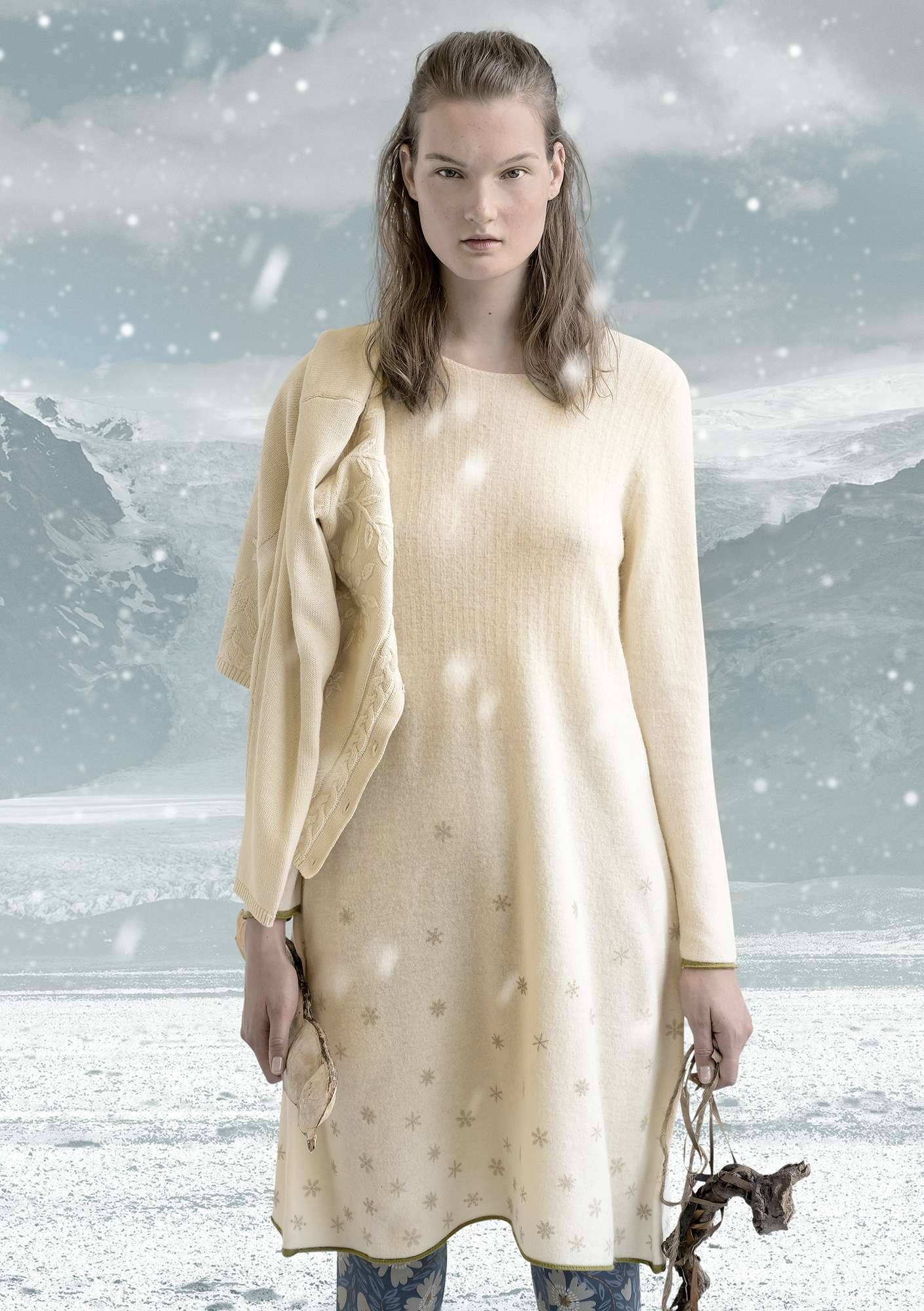 """Ilse"" dress in felted wool unbleached"