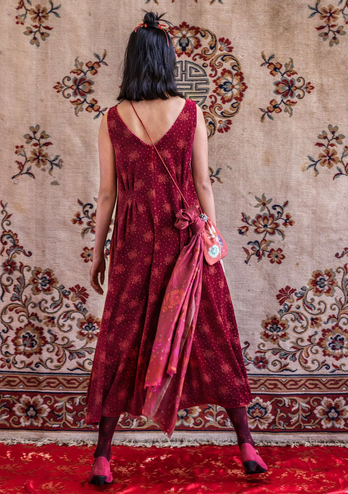 """Blossa"" long dress in organic cotton/polyester dark hibiscus"