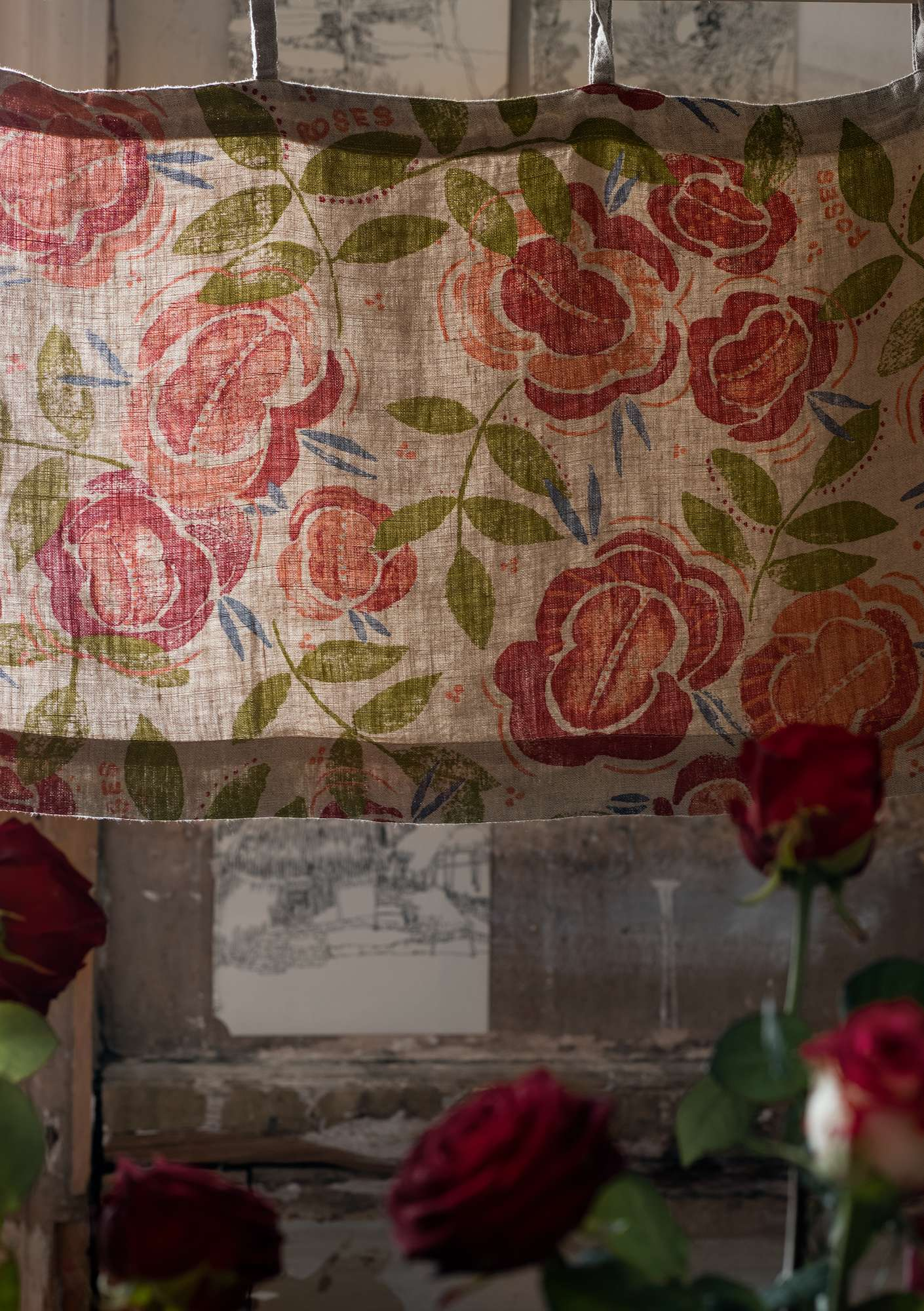 Rose Pattern Linen Window Valance coral