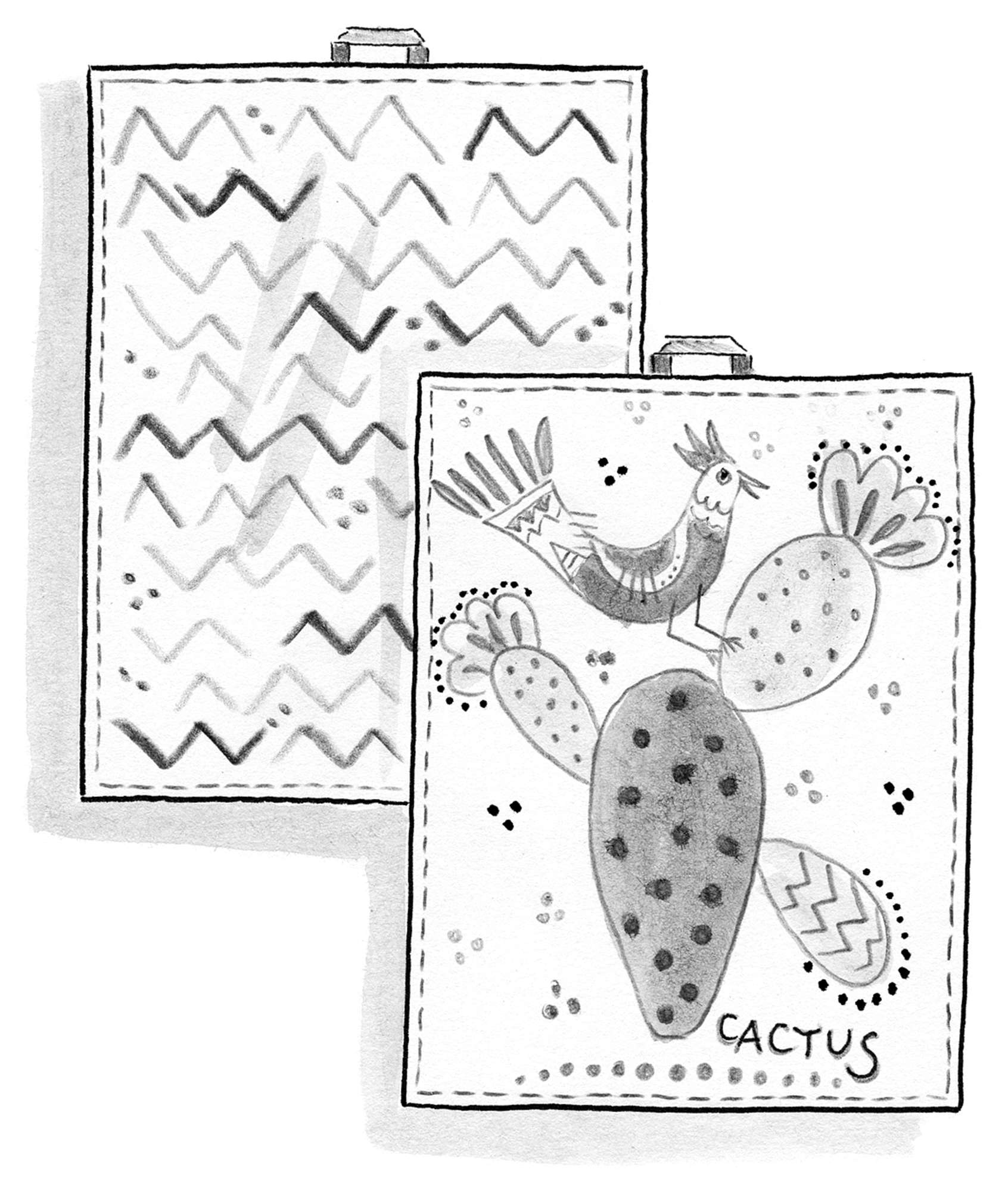 """Cactus"" organic cotton tea towel, 2-pack"
