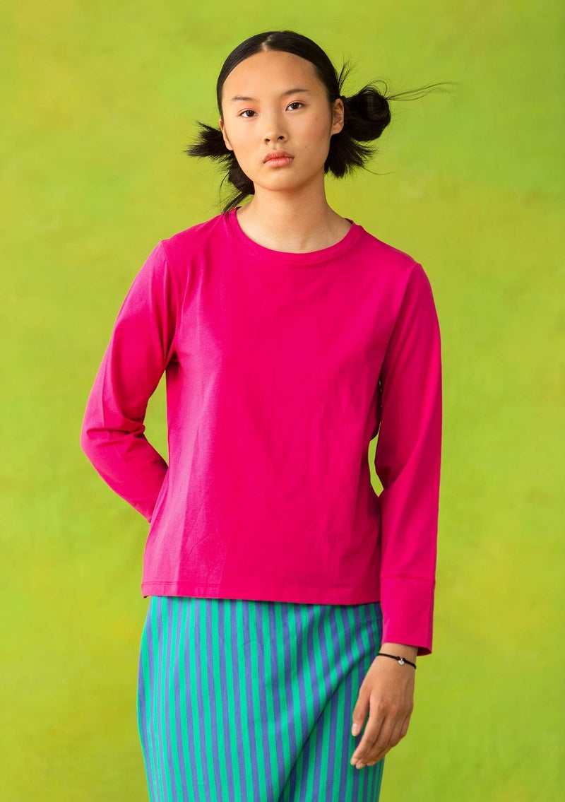 Long-sleeve top in organic cotton/spandex hibiscus
