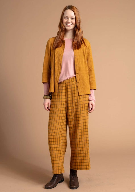 Checked trousers mustard