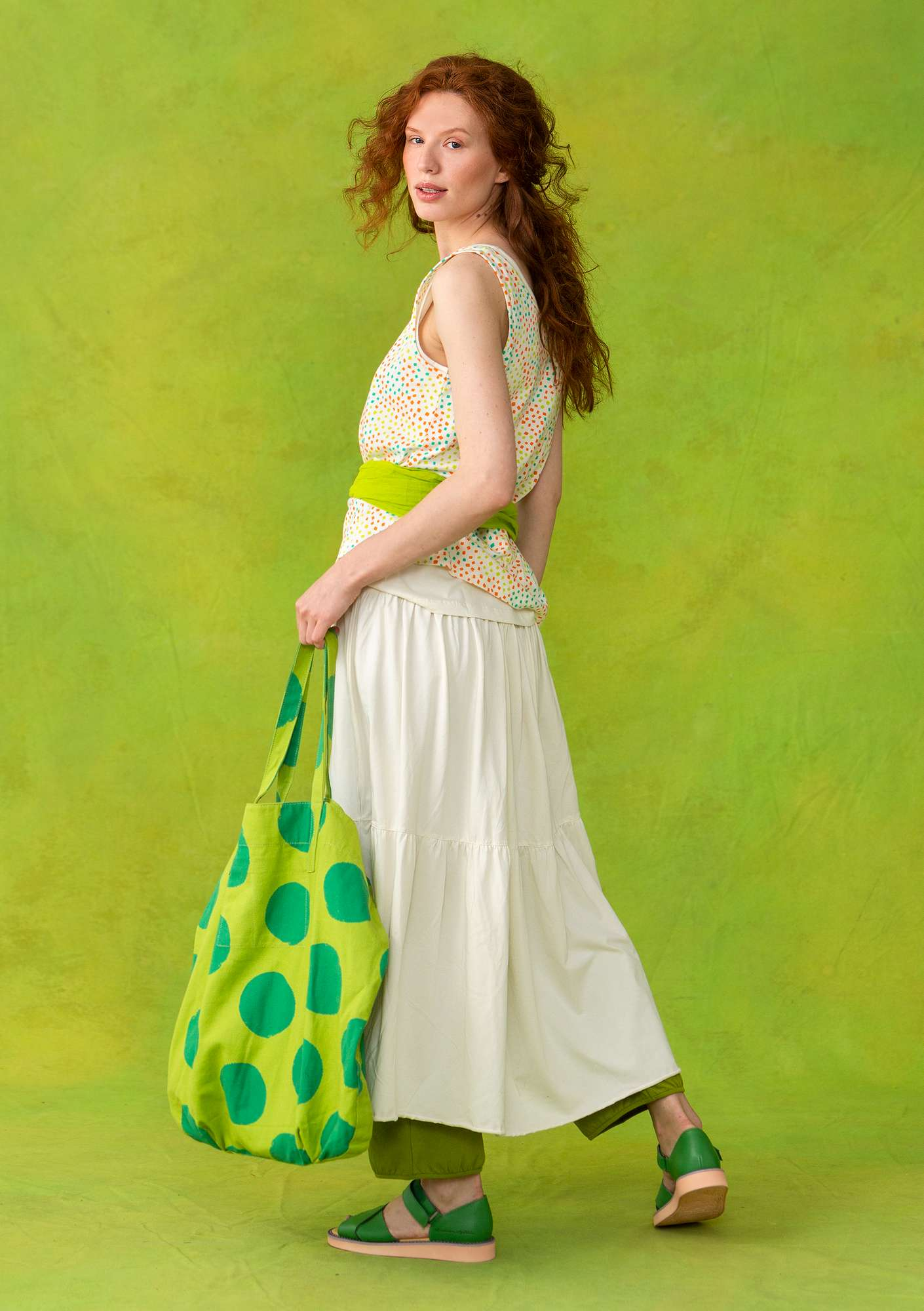 Wide ankle-length skirt in organic cotton ecru