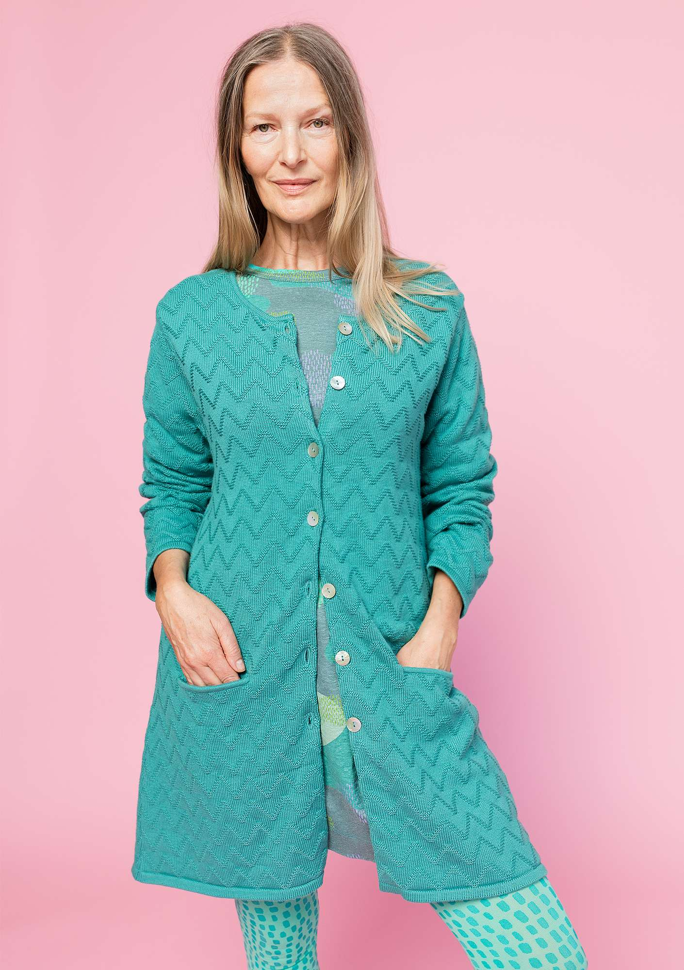 """Zigrid"" cardigan in organic cotton aqua green"