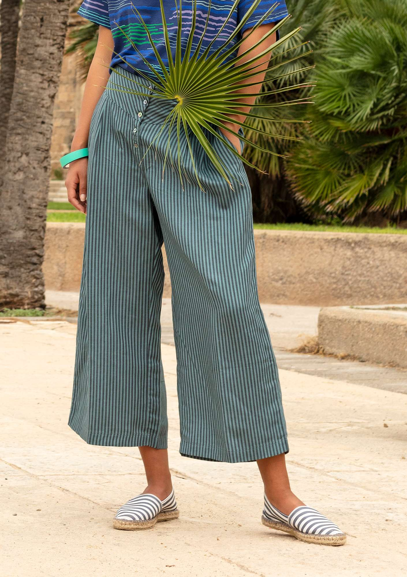 Pinstripe lyocell/linen trousers tea tree